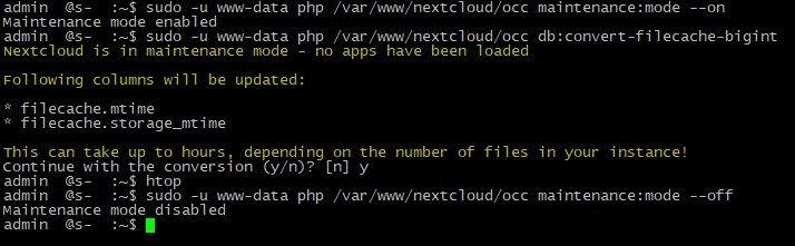 Nexcloud установка Ubuntu Server, индексация базы данных MySQL