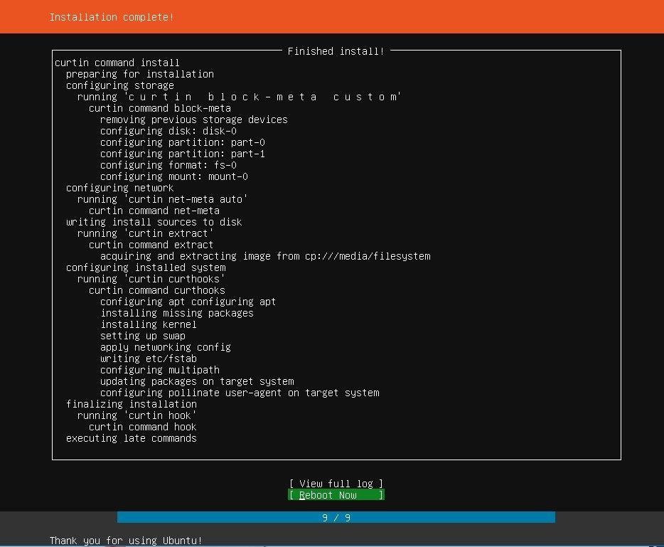 Установка Ubuntu Server, завершение инсталяции