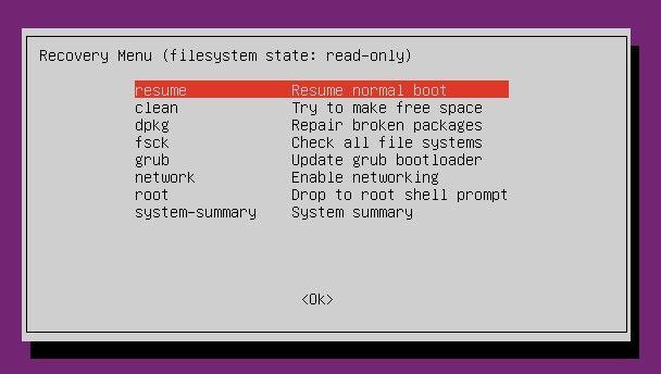 Ubuntu ошибка, продолжить нормальную загрузку